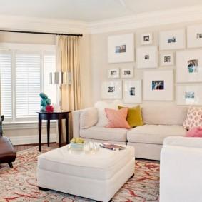 Белая мебель с тканевой обивкой