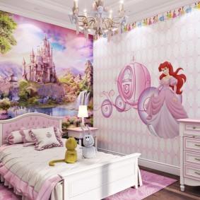 Фотообои в интерьере детской спальни