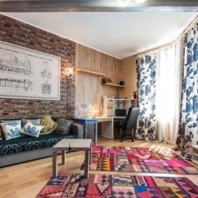 Современная гостиная с рабочим кабинетом