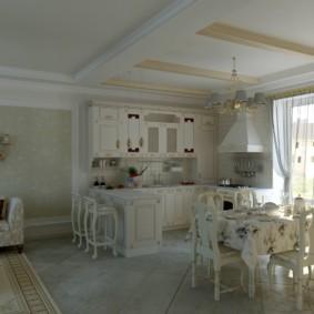 Деревенская кухня большой площади