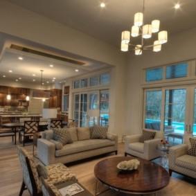 Освещение кухни гостиной частного дома