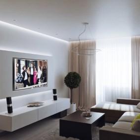 Подсветка мебели в интерьере гостиной