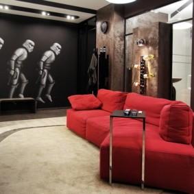 Красный диван в гостиной лофт стиля