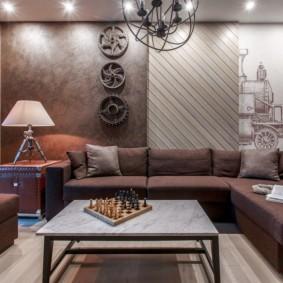 Декор шестеренками стены над диваном
