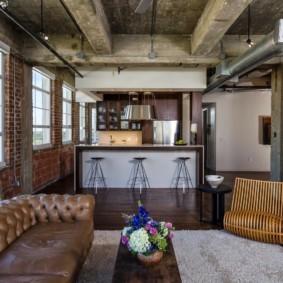Кухня-гостиная в индустриальном стиле