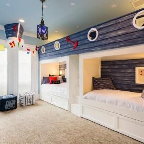 Детская комната для мальчиков в морском стиле