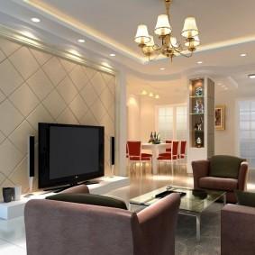 Дизайн небольшого зала с комбинированным освещением