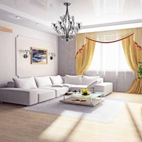 Желтые шторы в гостиной комнате