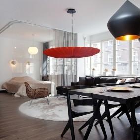 Подвесные светильники в гостиной стиля хай-тек