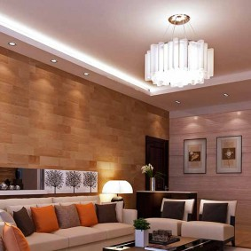 Декор стены гостиной деревянными панелями