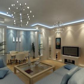 Дизайн современной гостиной с эркером