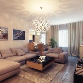 Ровный матовый потолок в гостиной комнате
