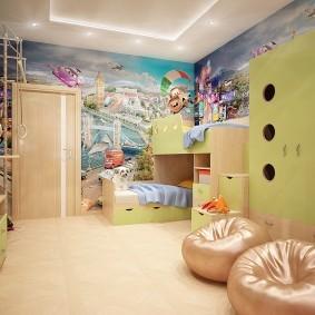 Фотообои на стене комнаты для двоих детей
