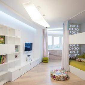 Светлая мебель в детской комнате стиля хай-тек