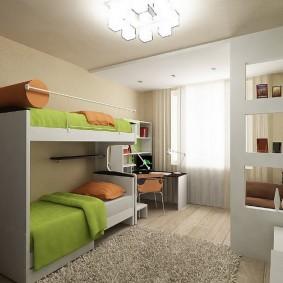 Зеленые одеяла на детских кроватях