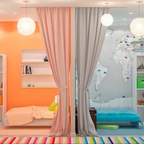 Зонирование цветом комнаты для разнополых детей
