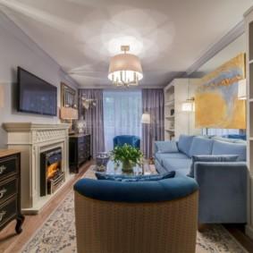 Узкая гостиная в двухкомнатной квартире