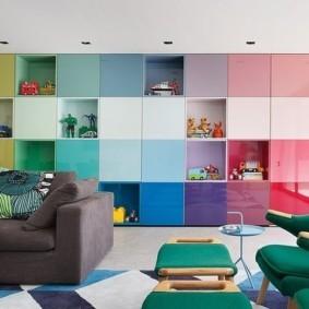 Разноцветные фасады стенки модульного типа