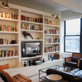 Подсветка книжных полок в гостиной комната