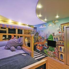 Сиреневый потолок в детской спальне