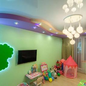 Цветной потолок гипсокартонной конструкции