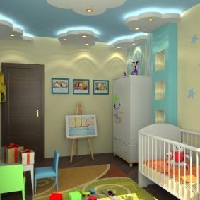 Облака с подсветкой на потолке спальни для ребенка