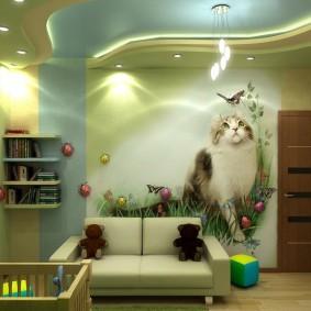 Фотообои с кошкой на стене комнаты мальчика