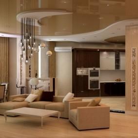 Дизайн зала с двухуровневым потолком