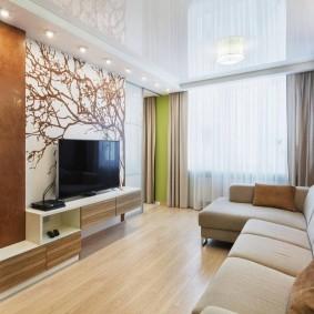Декор обоями стены за телевизором