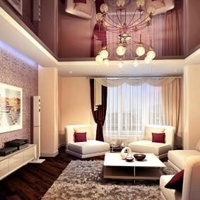 Дизайн гостиной квадратной формы