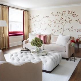 Белая мебель в современной гостиной