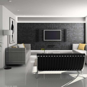Современный зал с наливным полом