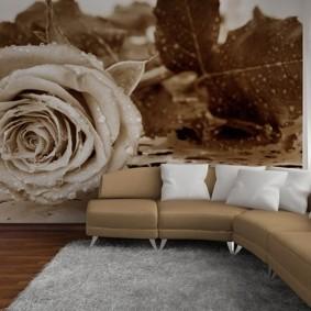 Огромная роза на фотообоях в зале