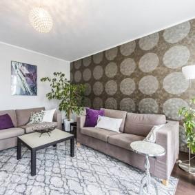 Интерьер зала с двумя диванами