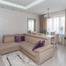 Зонирование диваном пространства гостиной