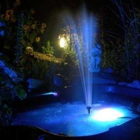Фонтан в водоеме с встроенной подсветкой
