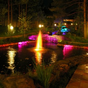 Искусственный водоем в ночное время