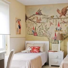 Художественная роспись в комнате однополых деток