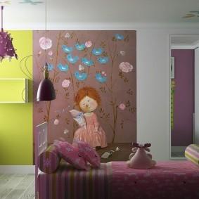 Пример комбинированной отделки стен в детской