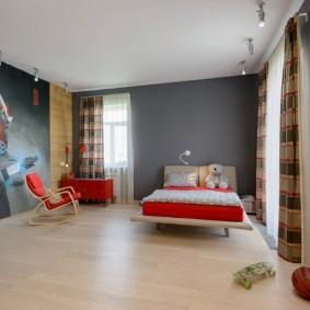Серые стены в спальне девочки