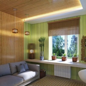 Бамбуковая отделка стен и потолка