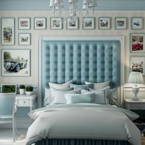 Стильная кровать с мягким изголовьем