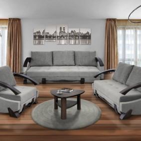 Серая мебель оригинального дизайна