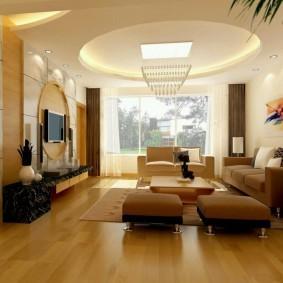 Двухуровневый потолок со встроенной подсветкой