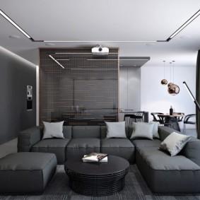 Интерьер зала в серых оттенках