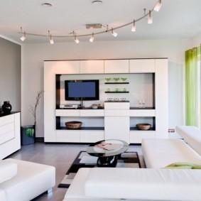 Белая гостиная в стиле хай-тек