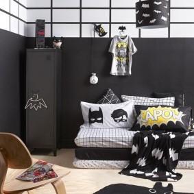 Черный цвет в интерьере детской комнаты