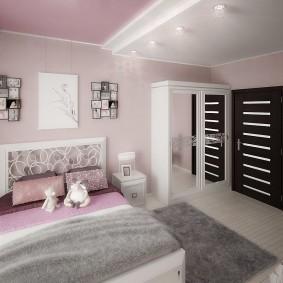 Розово-белый двухуровневый потолок