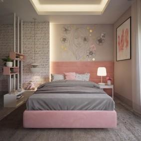 Декор рисунками от руки стены в спальне
