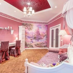 Розовая комната для девочек одного возраста